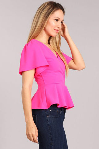 Hot pink wrap blouse