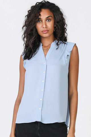 Short sleeve powder blue button down