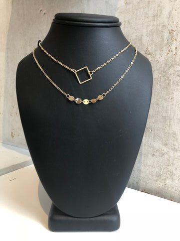 Gold layered diamond shape necklace