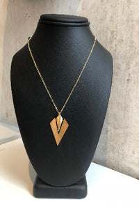 Bronze geometric hanging necklace