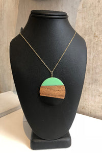 Teal and black wooden pendant necklace