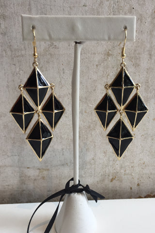 gold and black earring