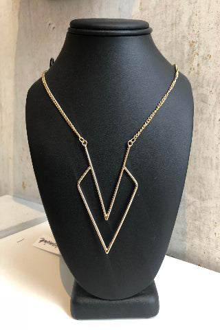 Gold geometric hanging necklace