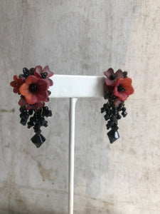 Red and black floral earrings
