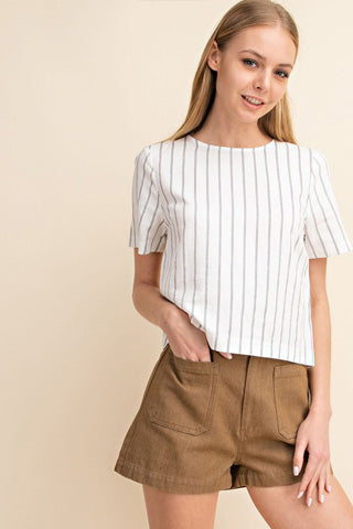 Linen crop-top with stripes