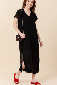 Short sleeve black maxi dress