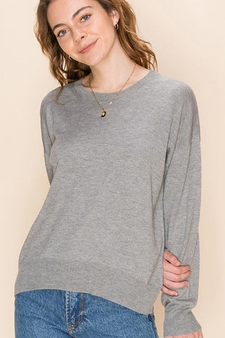 Crew neck sweater in grey and pink
