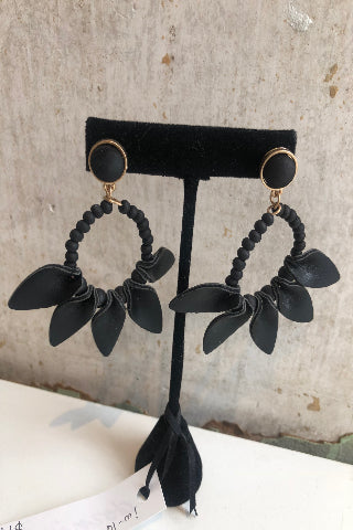 Leather petal hoop earrings