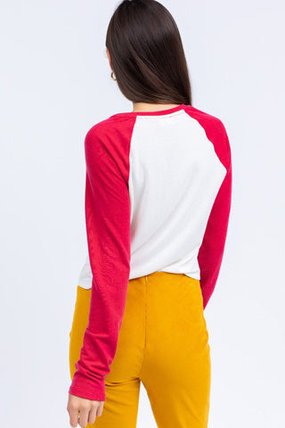 Red and ivory baseball tee