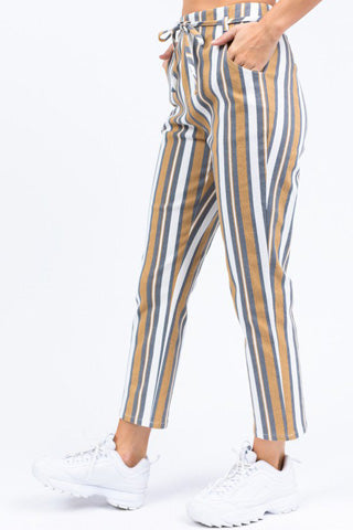 striped fabric pants
