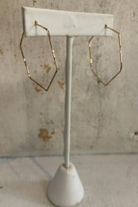 Gold Hexagon Hoops