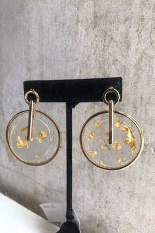 Circle gold fleck lucite earrings