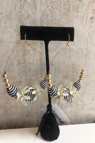 Black & white striped beaded hoop earrings