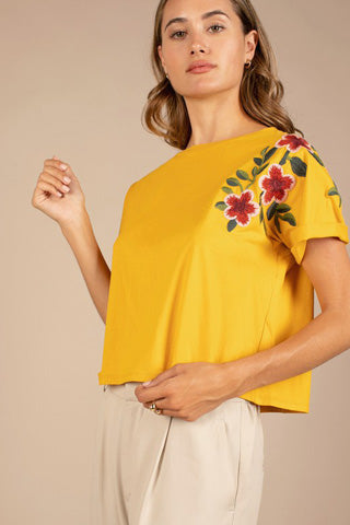 Mustard T-shirt with Floral Detailing