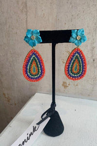 Multi colored flower drop earring