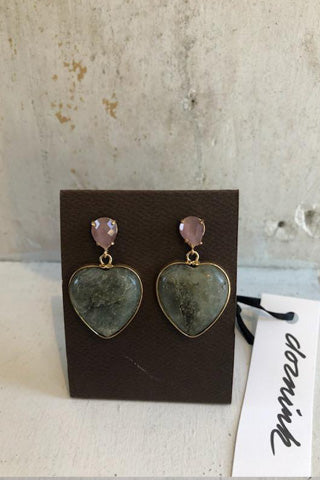 Stone Heart Post Earring