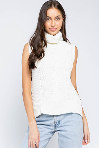 Sleeveless Turtle Neck Sweater