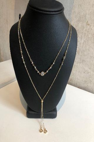 Layered dangling gold necklace