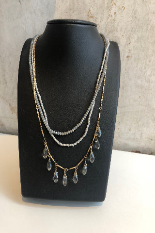 Layered bead & crystal necklace