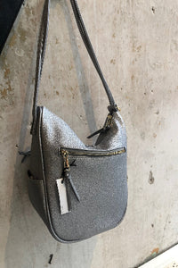 Grey leather cross-body purse