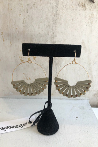Wood half circle drop earrings