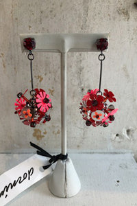 Beaded flower ball drop earrings