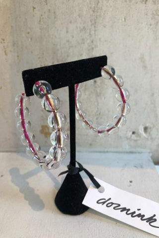 Beaded Lucite Hoop Earrings