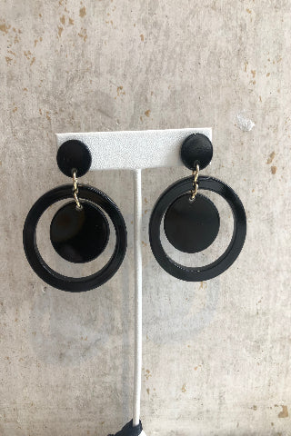 Black circle hoop earrings