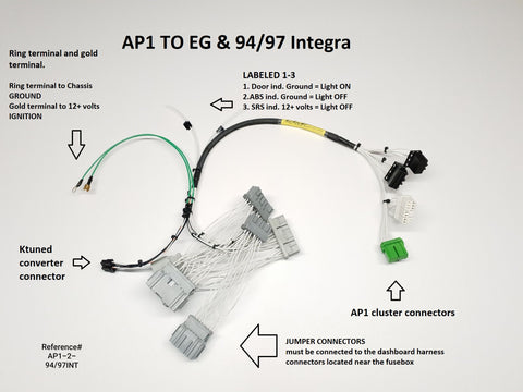 Ap1 Ap2 Cluster To Eg 94 97 Integra Harness Installation Instruction Total Race Innovations