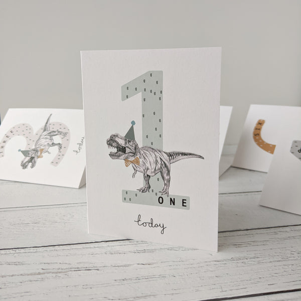 T - Rex Number Birthday Cards