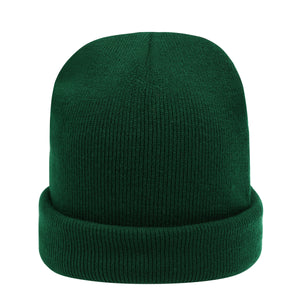 the dark green beanie