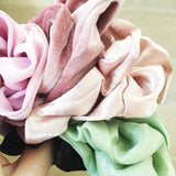 the pink velvet scrunchie