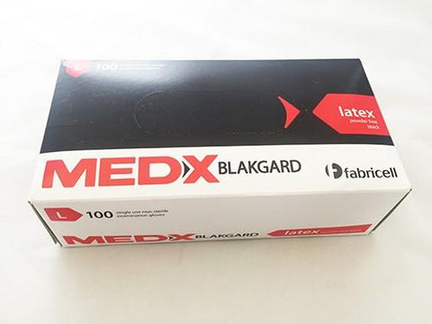 Med-X Black Latex Gloves
