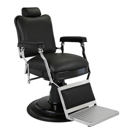 Kaiser Barber Chair Black w Matt Black Hydraulic