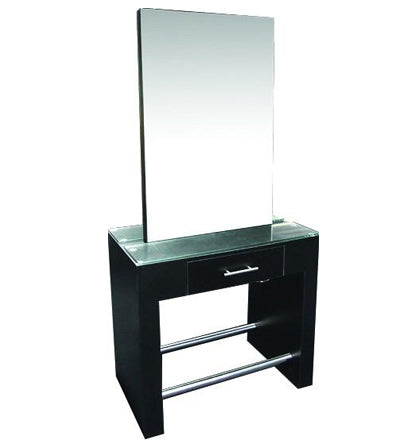 Double Mirror Stand Black and Drawer