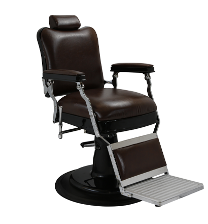 Kaiser Barber Chair Brown w Matt Black Hydraulic