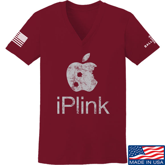 22plinkster Ladies iPlink V-Neck T-Shirts, V-Neck SMALL / Cranberry by Ballistic Ink - Made in America USA