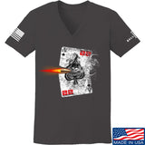 22plinkster Ladies Aces Wild V-Neck T-Shirts, V-Neck SMALL / Charcoal by Ballistic Ink - Made in America USA