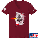 22plinkster Ladies Aces Wild V-Neck T-Shirts, V-Neck SMALL / Cranberry by Ballistic Ink - Made in America USA