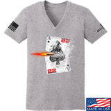 22plinkster Ladies Aces Wild V-Neck T-Shirts, V-Neck SMALL / Light Grey by Ballistic Ink - Made in America USA
