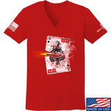 22plinkster Ladies Aces Wild V-Neck T-Shirts, V-Neck SMALL / Red by Ballistic Ink - Made in America USA