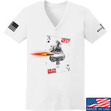 22plinkster Ladies Aces Wild V-Neck T-Shirts, V-Neck SMALL / White by Ballistic Ink - Made in America USA