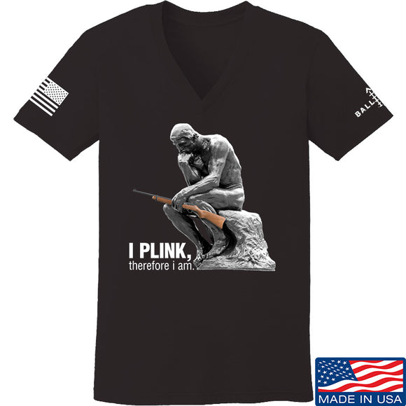 22plinkster Ladies I Plink, Therefore I Am V-Neck T-Shirts, V-Neck SMALL / Black by Ballistic Ink - Made in America USA