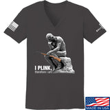 22plinkster Ladies I Plink, Therefore I Am V-Neck T-Shirts, V-Neck SMALL / Charcoal by Ballistic Ink - Made in America USA