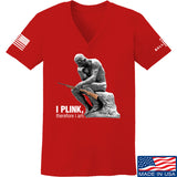 22plinkster Ladies I Plink, Therefore I Am V-Neck T-Shirts, V-Neck SMALL / Red by Ballistic Ink - Made in America USA