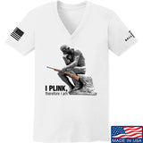 22plinkster Ladies I Plink, Therefore I Am V-Neck T-Shirts, V-Neck SMALL / White by Ballistic Ink - Made in America USA