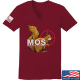 22plinkster Ladies Minute of Squirrel V-Neck T-Shirts, V-Neck SMALL / Cranberry by Ballistic Ink - Made in America USA