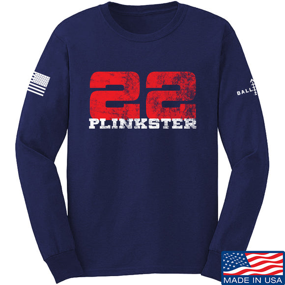 22plinkster 22plinkster Logo Long Sleeve T-Shirt Long Sleeve Small / Navy by Ballistic Ink - Made in America USA
