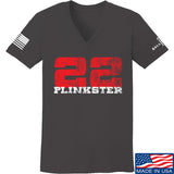 22plinkster Ladies 22plinkster Logo V-Neck T-Shirts, V-Neck SMALL / Charcoal by Ballistic Ink - Made in America USA