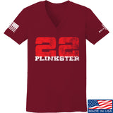 22plinkster Ladies 22plinkster Logo V-Neck T-Shirts, V-Neck SMALL / Cranberry by Ballistic Ink - Made in America USA